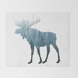 Misty Forest Moose Throw Blanket