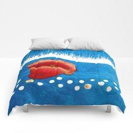 Coquelicot et pluie bis Comforters