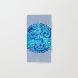 Seahorse Triskele Celtic Blue Spirals Mandala Hand & Bath Towel