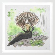 Empire of Mushrooms: Marasmius rotula Art Print