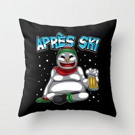 Apres Ski Snowman - Ski Lodge Skiing Snowboard Throw Pillow