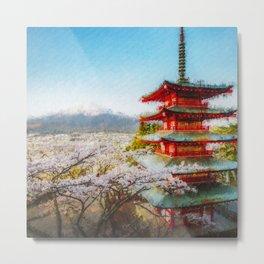 Temple at Mount Fuji Digital Oil Painting Metal Print