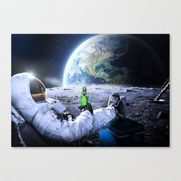 Astronaut on the Moon with beer Canvas Print
