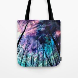 Black Trees Colorful SpacE Tote Bag