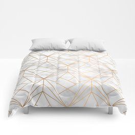 Geometric Gold Pattern on Marble Texture Comforters