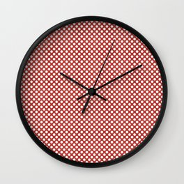 Aurora Red and White Polka Dots Wall Clock