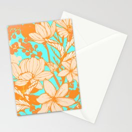 Aqua & Pale Pink Blossoms Stationery Cards