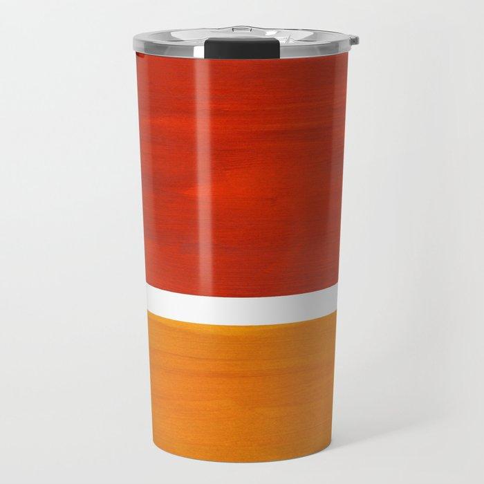 Burnt Orange Yellow Ochre Mid Century Modern Abstract Minimalist Rothko Color Field Squares Travel Mug