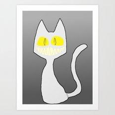 GrinKat (White/Silver) Art Print