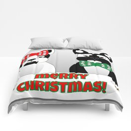 French Bulldogs Merry Christmas Comforters