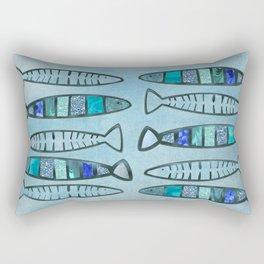 Blue Turquoise Glamour Fish Pattern Rectangular Pillow