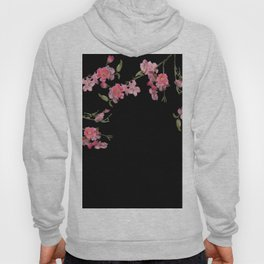 Cherry Flowers with black background Hoody