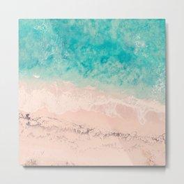 Tropical beach, aerial photo, drone, italian sea, Apulia, tropics photography, ocean, crystal clear Metal Print
