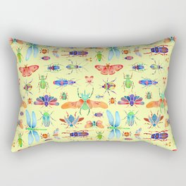 Beautiful Beetles on Yellow Rectangular Pillow