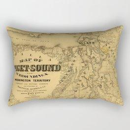 Map of Puget Sound 1877 Rectangular Pillow