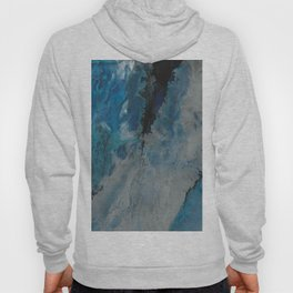 Silver Scape, abstract poured acrylic Hoody
