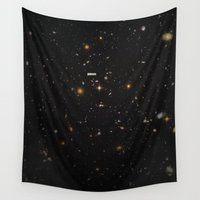 typography Wall Tapestries featuring THE UNIVERSE - Space | Time | Stars | Galaxies | Science | Planets | Past | Love | Design by Mike Gottschalk