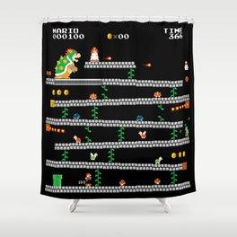 Super Mario x Donkey Kong level mockup Shower Curtain