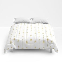 White And Gold Glitter Arrow Pattern Comforters