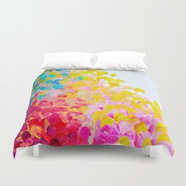 CREATION IN COLOR - Vibrant Bright Bold Colorful Abstract Painting Cheerful Fun Ocean Autumn Waves Duvet Cover