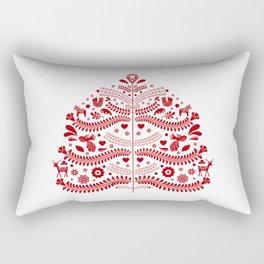 Red Scandinavian Folk Art Christmas Tree Rectangular Pillow