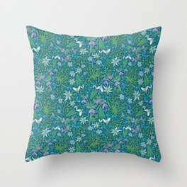 Edelweiss flowers with hellebore and snowdrops on blue background Throw Pillow