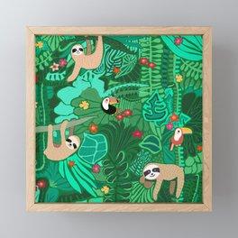 Sloths in the Emerald Jungle Pattern Framed Mini Art Print