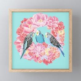 Birds of Paradise Parakeets Blue budgie Pink Peonies Flowers Wreath Framed Mini Art Print