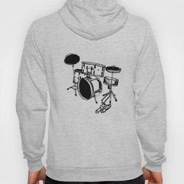 Drum Kit Rock Black White Hoody