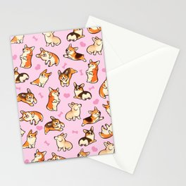 Lovey corgis in pink Stationery Cards