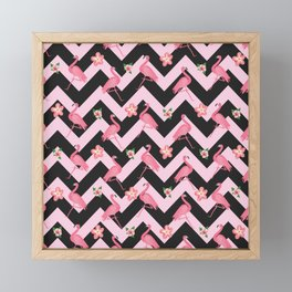 Black and pink Zig Zag With Flamingos and hawaiian flowers Pattern Framed Mini Art Print