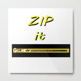 Zip it Black Yellow jGibney The MUSEUM Gifts Metal Print