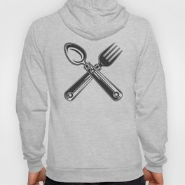 Dining set - a spoon and a fork. Lover to eat. Hungry. Glutton. Heavy eater. Eat. Food. Hoody