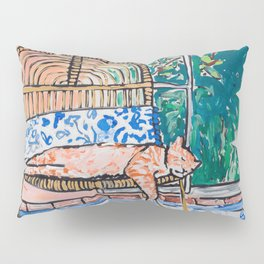 Napping Ginger Cat in Pink Jungle Garden Room Pillow Sham
