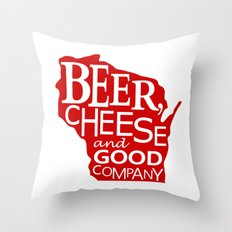 Red and White Beer, Cheese and Good Company Wisconsin Graphic Throw Pillow
