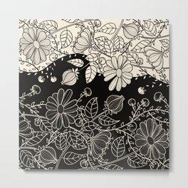 FLOWERS EBONY AND IVORY Metal Print