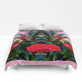 Pink Design Agave & Red Geraniums Still Life Painting Comforters