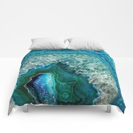 Aqua turquoise agate mineral gem stone - Beautiful Backdrop Comforters