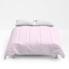 Palest Pink and White Hand Drawn Hearts Pattern Comforters