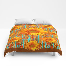 Coffee Brown Sunflower Pattern Orange & Turquoise Comforters