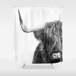 Highland Cow Portrait - Black and White Shower Curtain