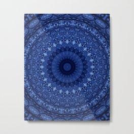 Mandala in deep blue tones Metal Print