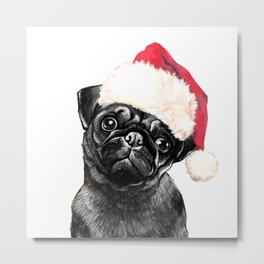 Christmas Black Pug Metal Print