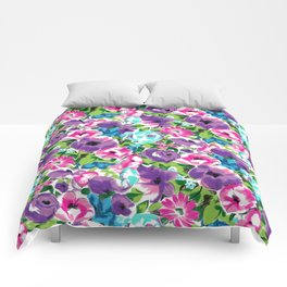 Stylized Watercolor Floral in Bright Colors Comforters