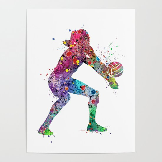 Volleyball Girl Watercolor Print Girls Room Decor Volleyball Poster Girl Volleyball Wall Art by svetlaart