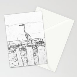 Great Blue Heron Drawing Stationery Cards