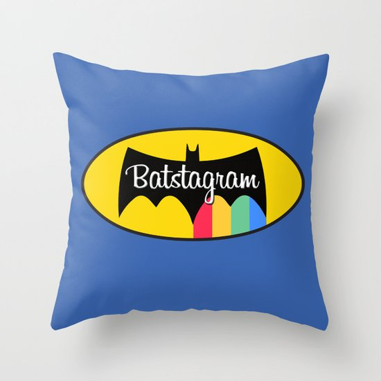 Batstagram Throw Pillow