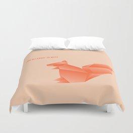 Allergic to Nuts - Origami Orange Squirrel Duvet Cover