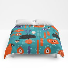 Modern birds and sleepy cats Comforters