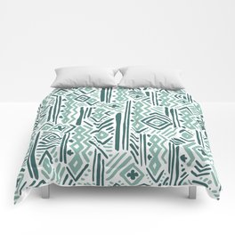Abstract mauve green teal white tribal pattern Comforters